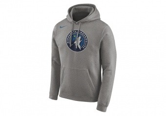 NIKE NBA MINNESOTA TIMBERWOLVES LOGO HOODIE DARK GREY HEATHER