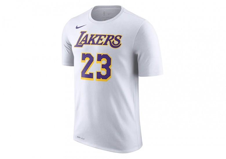 NIKE NBA LOS ANGELES LAKERS LEBRON JAMES DRY TEE WHITE