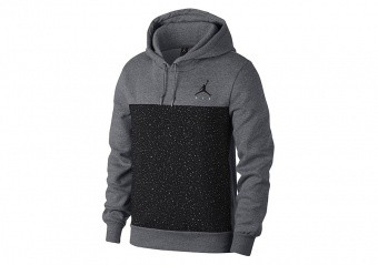 NIKE AIR JORDAN FLIGHT FLEECE CEMENT PULLOVER HOODIE GREY HEATHER