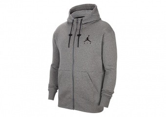 NIKE AIR JORDAN JUMPMAN AIR FLEECE FULL-ZIP HOODIE CARBON HEATHER