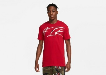NIKE AIR JORDAN AIR SCRIPT CREW DRI-FIT TEE GYM RED