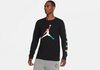 NIKE AIR JORDAN SPORT DNA LONG SLEEVE CREW TEE BLACK HOT PUNCH