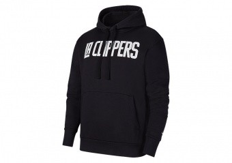 NIKE NBA LOS ANGELES CLIPPERS CITY EDITION LOGO PULLOVER FLEECE HOODIE BLACK